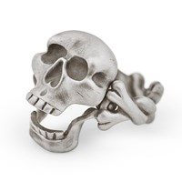 Snake Bones Skull And Crossbones Ring With Hinged Jaw Silver