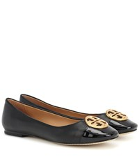 Tory Burch Chelsea Leather Ballerinas Black