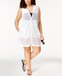 Dotti Plus Size Free Spirit Sheer Hoodie Cover Up Women's Swimsuit White