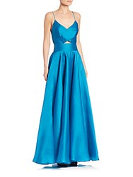 Milly Alana Silk Organza Gown Teal