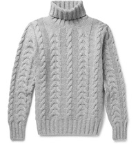 Hackett Cable Knit Wool And Cashmere Blend Rollneck Sweater Gray