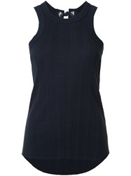 Sacai Ribbed Lace Back Vest Top Blue