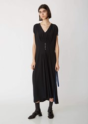 Marni Washed Crepe Short Sleeve Dress Black Mazarine Blue Black Mazarine Blue
