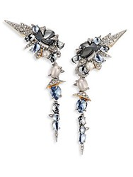 Alexis Bittar Crystal Encrusted Mosaic Lace Dangling Clip On Earrings Silver