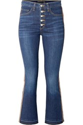 Veronica Beard Carolyn Cropped Grosgrain Trimmed High Rise Bootcut Jeans Indigo