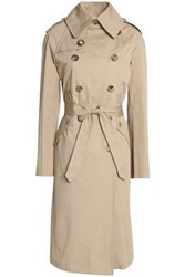 Sandro Double Breasted Cotton Gabardine Trench Coat Beige