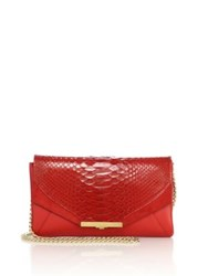 Khirma New York Roya Leather And Python Envelope Clutch Flame