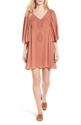 Hinge Embroidered Dress Coral Cedar
