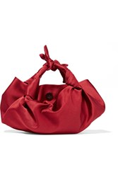 The Row Ascot Knotted Satin Tote Red
