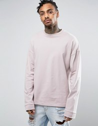 Asos Oversized Long Sleeve T Shirt With Wide Sleeve And Cuff In Light Pink Dainty