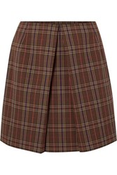 Maison Martin Margiela Mm6 Pleated Checked Woven Mini Skirt Brown