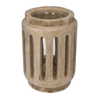 Amara Slotted Wooden Hurricane Lamp Neutral
