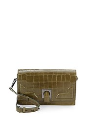 Halston Embossed Leather Convertible Clutch Olive