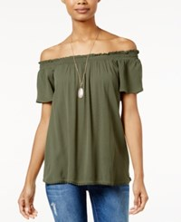 Self Esteem Juniors' Off The Shoulder Peasant Top With Necklace Deep Lichen Green