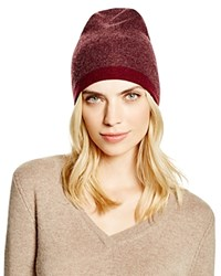 Theory Hody Color Block Cashmere Beanie Bloomingdale's Exclusive Burgundy Melange Burgundy