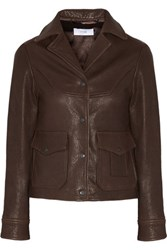 Title A Ford Textured Leather Jacket Chocolate