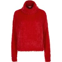 River Island Womens Red Fluffy Cowl Neck Jumper