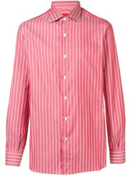 Isaia Striped Shirt Red