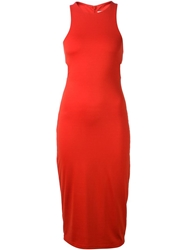 T By Alexander Wang Bandeau Detail Fitted Dress Red