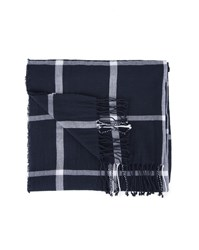 Tommy Hilfiger Navy Blue Grid Check Cotton Scarf