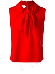 Marques Almeida Marques'almeida Knot Detail Sleeveless Blouse Red