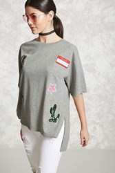 Forever 21 Patched French Terry Top Heather Grey