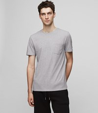 Reiss Aquila Print Crew Neck T Shirt In Grey Mens