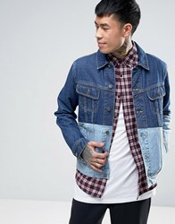 Asos Denim Jacket With Contrast Panel In Blue Blue
