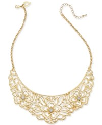 Thalia Sodi Gold Tone Crystal Flower Filigree 10 1 2 Statement Necklace Created For Macy's