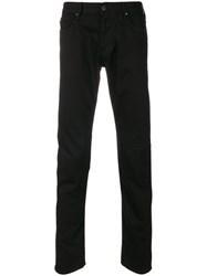 Armani Jeans Straight Leg Trousers Cotton Spandex Elastane Black