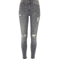 River Island Womens Grey Star Print Distressed Molly Jegging