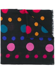 Paul Smith Ps By Dotted Pattern Scarf Black