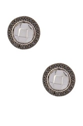 Charriol 18K White Gold And Black Diamond Faceted Round Stud Earrings 0.17 Ctw Green