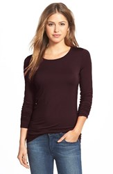 Halogenr Women's Halogen Long Sleeve Modal Blend Tee Burgundy Royale
