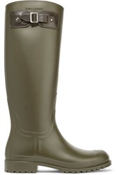 Saint Laurent Festival 25 Leather Trimmed Rubber Rain Boots Green