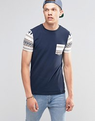 Asos Muscle T Shirt With Aztec Pocket And Sleeves In Navy Navy