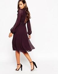 Asos Midi Dress With Metalwork And Lace Detail Maroon