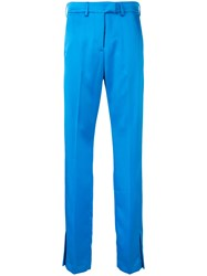 Msgm Side Vent Trousers Blue
