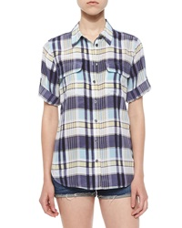 Equipment Slim Signature Short Sleeve Silk Shirt Dusty Blue