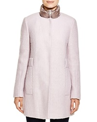 Calvin Klein Wool Blend Coat With Puffer Inset Pale Pink
