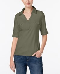 Karen Scott Cotton Roll Tab Sleeve Shirt Created For Macy's Olive Sprig