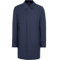 Canali Loro Piana Slim Fit Reversible Storm System Wool And Shell Raincoat Navy