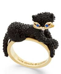Kate Spade New York Gold Tone Jet Pave Three Dimensional Cat Statement Ring