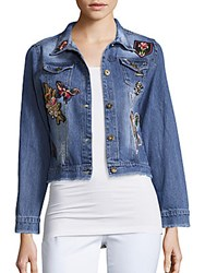 Saks Fifth Avenue Red Floral Embroidered Denim Jacket Faded Denim