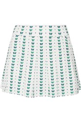 Tory Sport Pleated Printed Stretch Tennis Skirt White