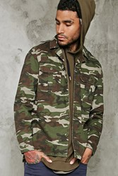 Forever 21 Camo Print Army Jacket Olive Black