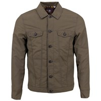 Lords Of Harlech James Trucker Jacket In Olive Brown Green