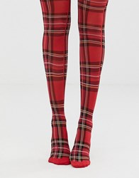 a584c257928 Monki Checked Tights In Red
