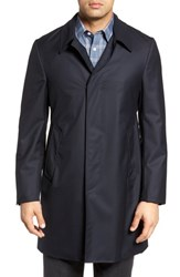 Hickey Freeman Men's Classic Fit Wool And Cashmere Top Coat Navy Solid