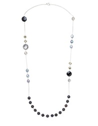 Honora Style Sterling Silver And Multi Freshwater Pearl Necklace Black Grey Pearl